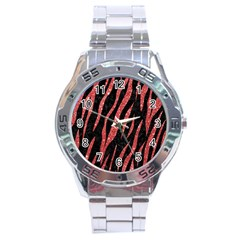 Skin3 Black Marble & Red Glitter (r) Stainless Steel Analogue Watch by trendistuff