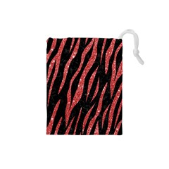 Skin3 Black Marble & Red Glitter (r) Drawstring Pouches (small)  by trendistuff