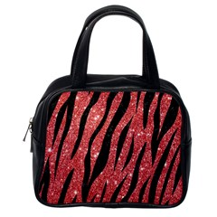 Skin3 Black Marble & Red Glitter Classic Handbags (one Side) by trendistuff
