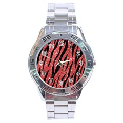 Skin3 Black Marble & Red Glitter Stainless Steel Analogue Watch by trendistuff