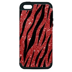 Skin3 Black Marble & Red Glitter Apple Iphone 5 Hardshell Case (pc+silicone) by trendistuff