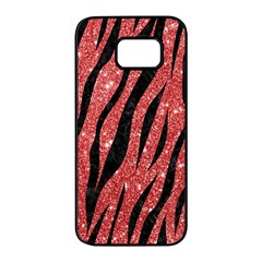 Skin3 Black Marble & Red Glitter Samsung Galaxy S7 Edge Black Seamless Case