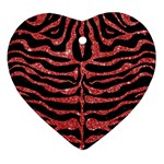 SKIN2 BLACK MARBLE & RED GLITTER (R) Ornament (Heart) Front
