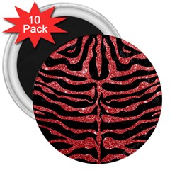 Skin2 Black Marble & Red Glitter (r) 3  Magnets (10 Pack)  by trendistuff