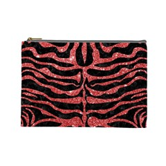 Skin2 Black Marble & Red Glitter (r) Cosmetic Bag (large)  by trendistuff