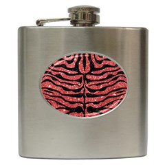 Skin2 Black Marble & Red Glitter Hip Flask (6 Oz) by trendistuff