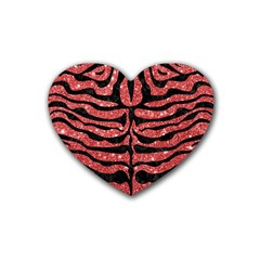 Skin2 Black Marble & Red Glitter Heart Coaster (4 Pack)  by trendistuff