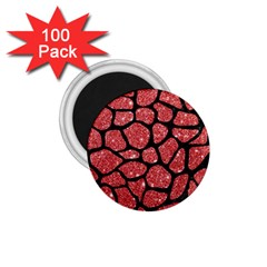 Skin1 Black Marble & Red Glitter (r) 1 75  Magnets (100 Pack)  by trendistuff