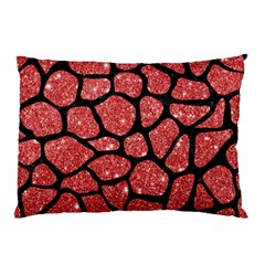 Skin1 Black Marble & Red Glitter (r) Pillow Case by trendistuff