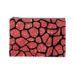 Skin1 Black Marble & Red Glitter (r) Cosmetic Bag (large)  by trendistuff