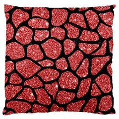 Skin1 Black Marble & Red Glitter (r) Large Cushion Case (two Sides) by trendistuff