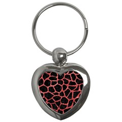 Skin1 Black Marble & Red Glitter Key Chains (heart)  by trendistuff