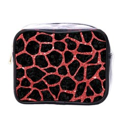 Skin1 Black Marble & Red Glitter Mini Toiletries Bags by trendistuff