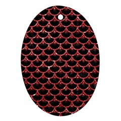 Scales3 Black Marble & Red Glitter (r) Ornament (oval) by trendistuff