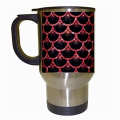 Scales3 Black Marble & Red Glitter (r) Travel Mugs (white) by trendistuff