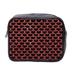 Scales3 Black Marble & Red Glitter (r) Mini Toiletries Bag 2 Side by trendistuff