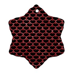 Scales3 Black Marble & Red Glitter (r) Ornament (snowflake) by trendistuff