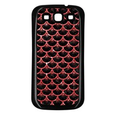 Scales3 Black Marble & Red Glitter (r) Samsung Galaxy S3 Back Case (black) by trendistuff