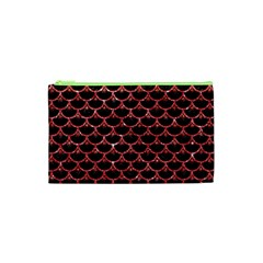 Scales3 Black Marble & Red Glitter (r) Cosmetic Bag (xs) by trendistuff