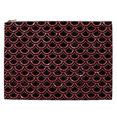 Scales2 Black Marble & Red Glitter (r) Cosmetic Bag (xxl)  by trendistuff