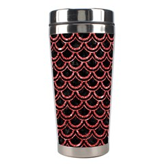 Scales2 Black Marble & Red Glitter (r) Stainless Steel Travel Tumblers by trendistuff