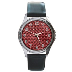 Scales2 Black Marble & Red Glitter Round Metal Watch by trendistuff