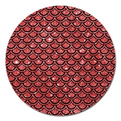Scales2 Black Marble & Red Glitter Magnet 5  (round) by trendistuff
