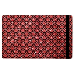 Scales2 Black Marble & Red Glitter Apple Ipad 3/4 Flip Case by trendistuff
