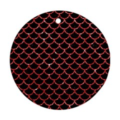 Scales1 Black Marble & Red Glitter (r) Round Ornament (two Sides) by trendistuff