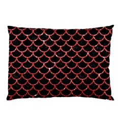 Scales1 Black Marble & Red Glitter (r) Pillow Case