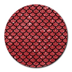 Scales1 Black Marble & Red Glitter Round Mousepads