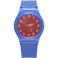 Scales1 Black Marble & Red Glitter Round Plastic Sport Watch (s) by trendistuff