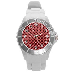 Scales1 Black Marble & Red Glitter Round Plastic Sport Watch (l) by trendistuff