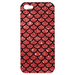 Scales1 Black Marble & Red Glitter Apple Iphone 5 Hardshell Case by trendistuff