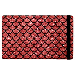 Scales1 Black Marble & Red Glitter Apple Ipad 3/4 Flip Case by trendistuff