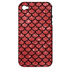 Scales1 Black Marble & Red Glitter Apple Iphone 4/4s Hardshell Case (pc+silicone) by trendistuff