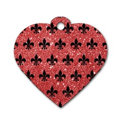 Royal1 Black Marble & Red Glitter (r) Dog Tag Heart (one Side) by trendistuff
