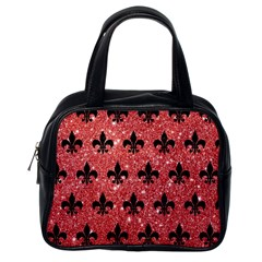 Royal1 Black Marble & Red Glitter (r) Classic Handbags (one Side) by trendistuff