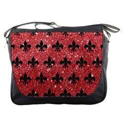 Royal1 Black Marble & Red Glitter (r) Messenger Bags by trendistuff