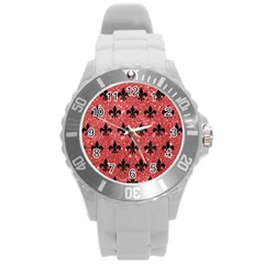 Royal1 Black Marble & Red Glitter (r) Round Plastic Sport Watch (l) by trendistuff