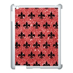 Royal1 Black Marble & Red Glitter (r) Apple Ipad 3/4 Case (white) by trendistuff