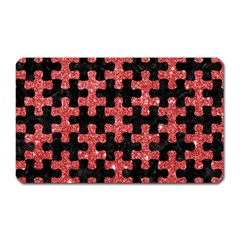 Puzzle1 Black Marble & Red Glitter Magnet (rectangular) by trendistuff