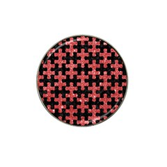 Puzzle1 Black Marble & Red Glitter Hat Clip Ball Marker by trendistuff