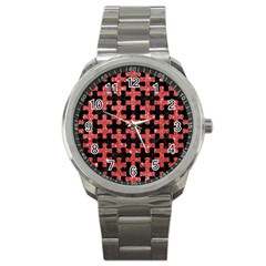 Puzzle1 Black Marble & Red Glitter Sport Metal Watch