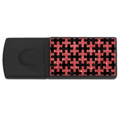 Puzzle1 Black Marble & Red Glitter Rectangular Usb Flash Drive by trendistuff