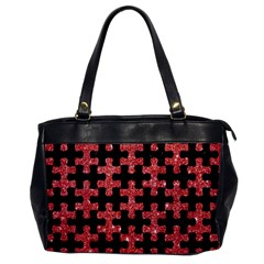 Puzzle1 Black Marble & Red Glitter Office Handbags by trendistuff