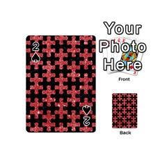 Puzzle1 Black Marble & Red Glitter Playing Cards 54 (mini)  by trendistuff