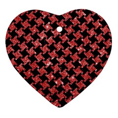 Houndstooth2 Black Marble & Red Glitterhoundstooth2 Black Marble & Red Glitter Ornament (heart) by trendistuff