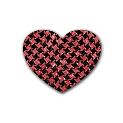 Houndstooth2 Black Marble & Red Glitterhoundstooth2 Black Marble & Red Glitter Heart Coaster (4 Pack)  by trendistuff