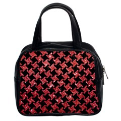 Houndstooth2 Black Marble & Red Glitterhoundstooth2 Black Marble & Red Glitter Classic Handbags (2 Sides) by trendistuff